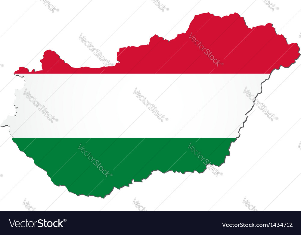 Map of hungary with national flag vector | Price: 1 Credit (USD $1)