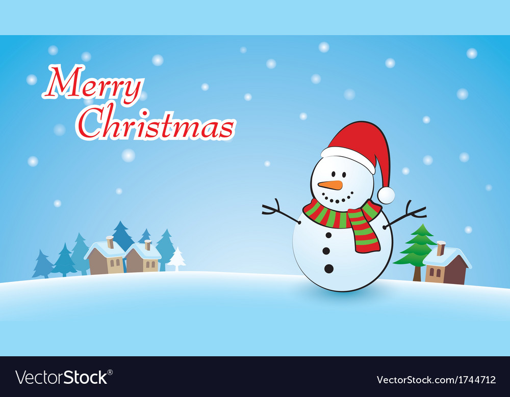 Merry christmas background with snowman vector | Price: 1 Credit (USD $1)