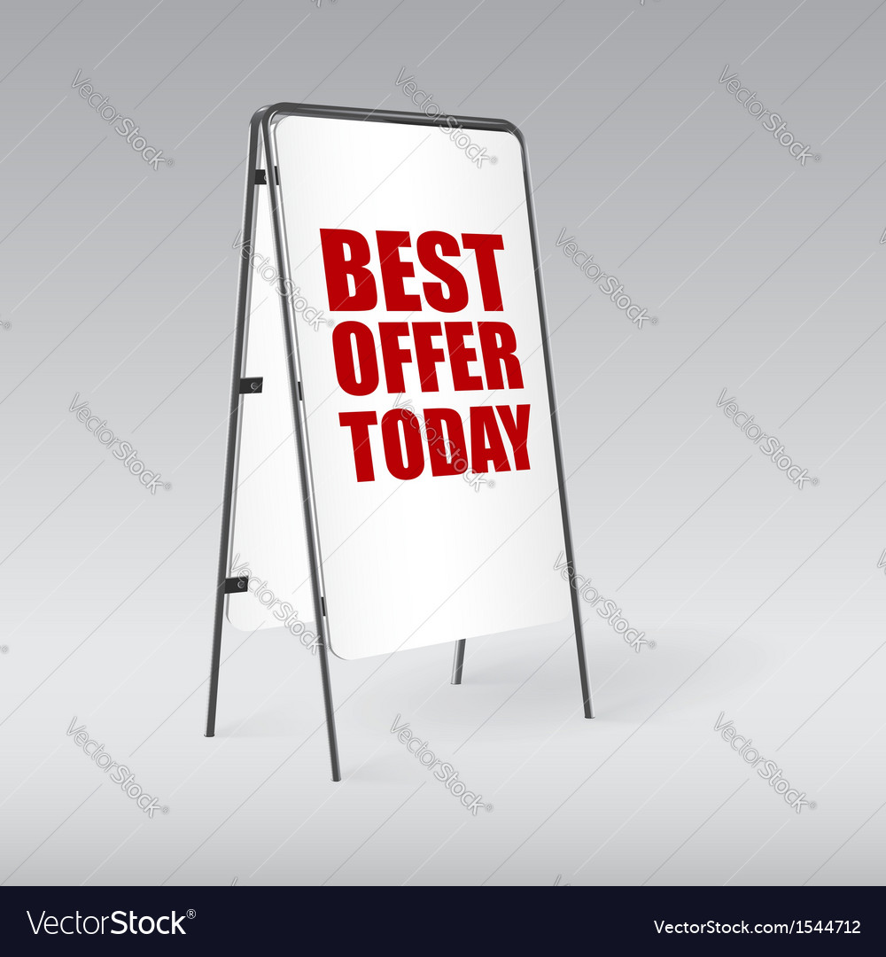 Pavement sign with the text best offer today vector | Price: 1 Credit (USD $1)