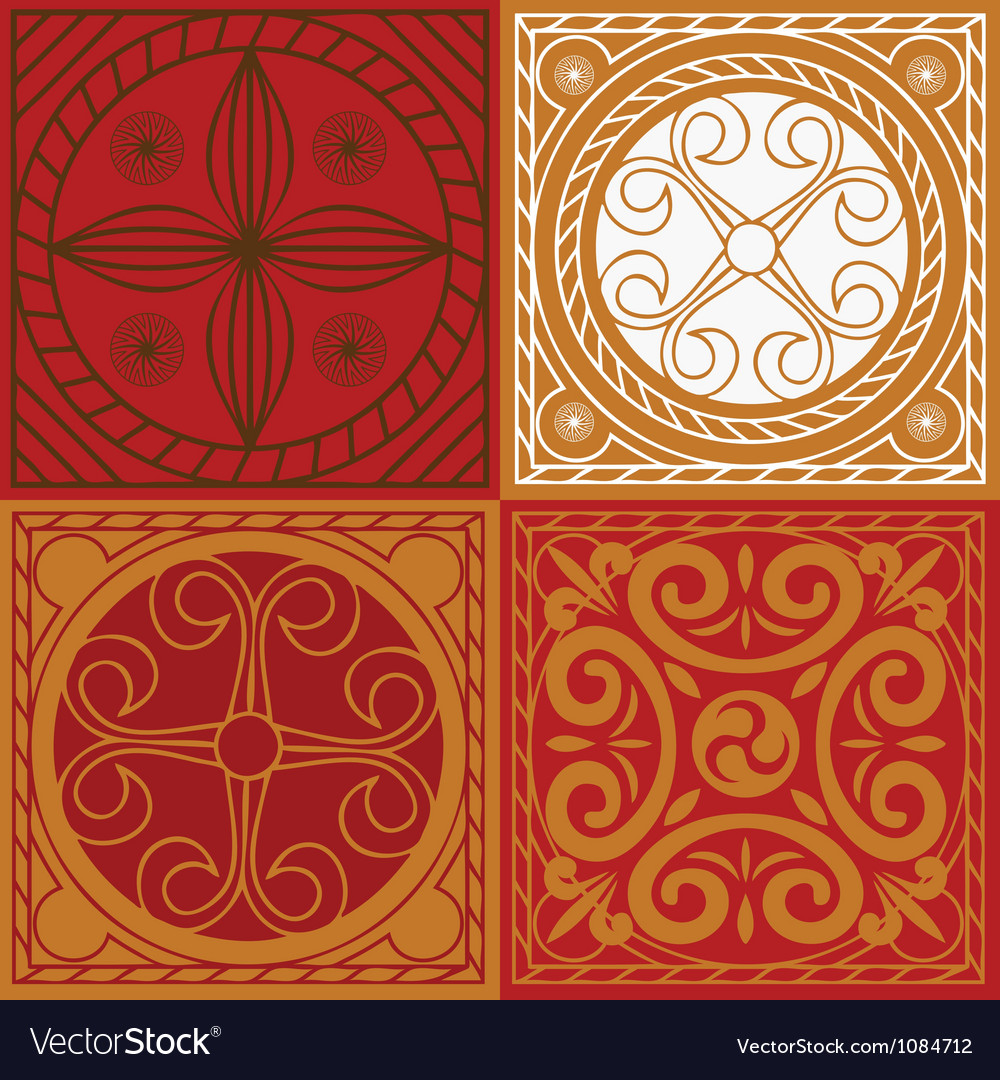 Red scuares-indian ornament set vector | Price: 1 Credit (USD $1)