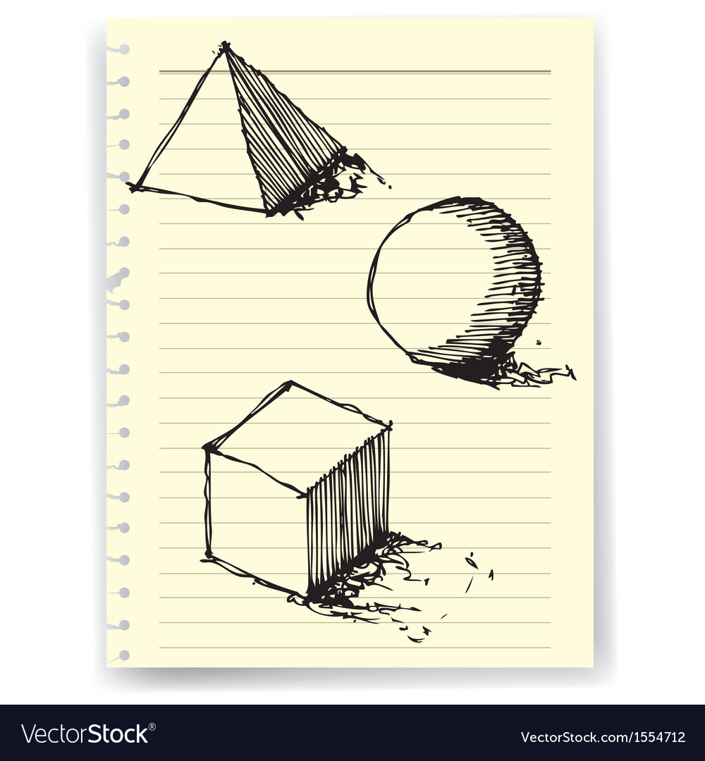 Sketch drawing of geometry on lined paper vector | Price: 1 Credit (USD $1)