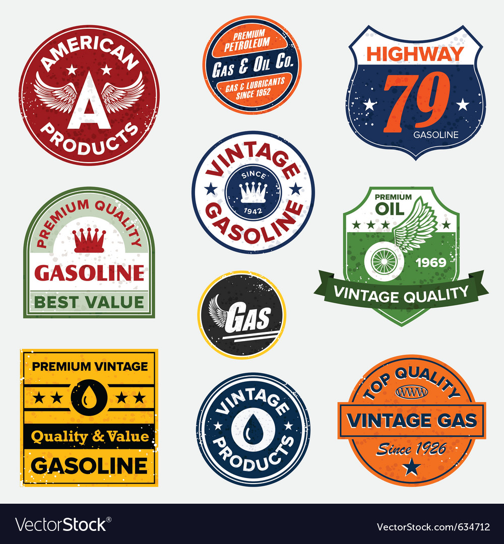 Vintage gasoline signs vector | Price: 3 Credit (USD $3)