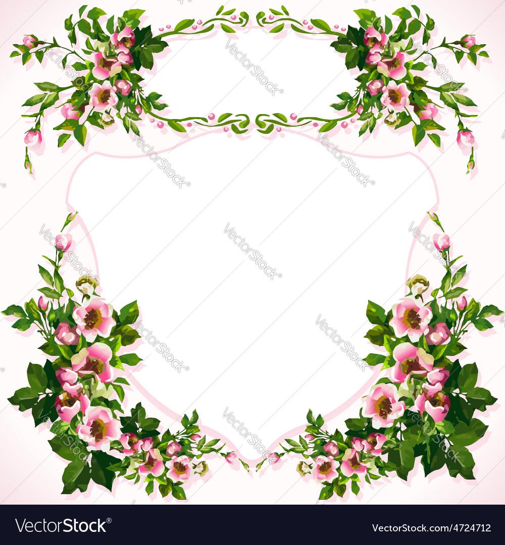 Wild roses bouquet label vector   Price: 1 Credit (USD $1)