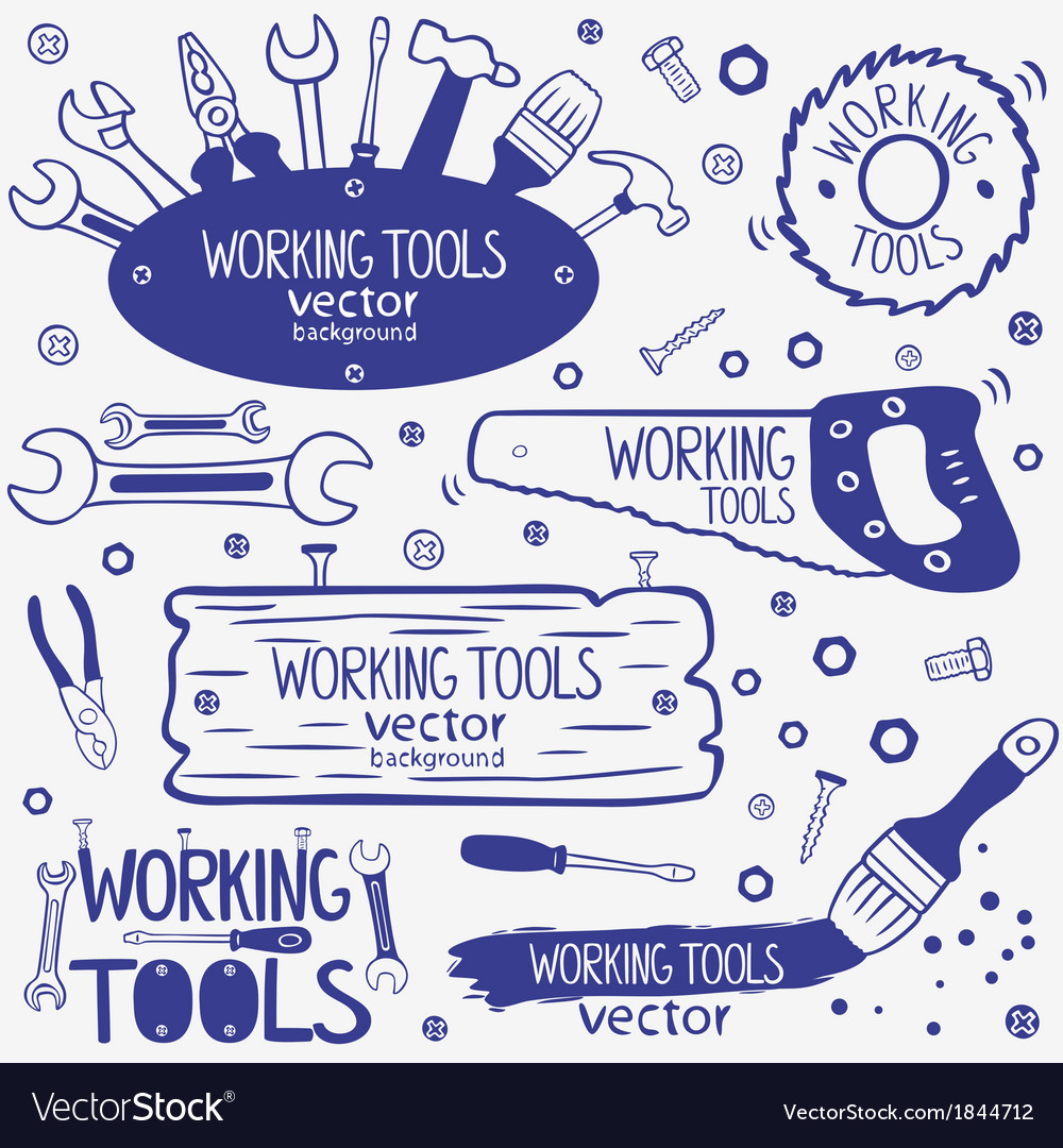 Working tools set vector | Price: 1 Credit (USD $1)