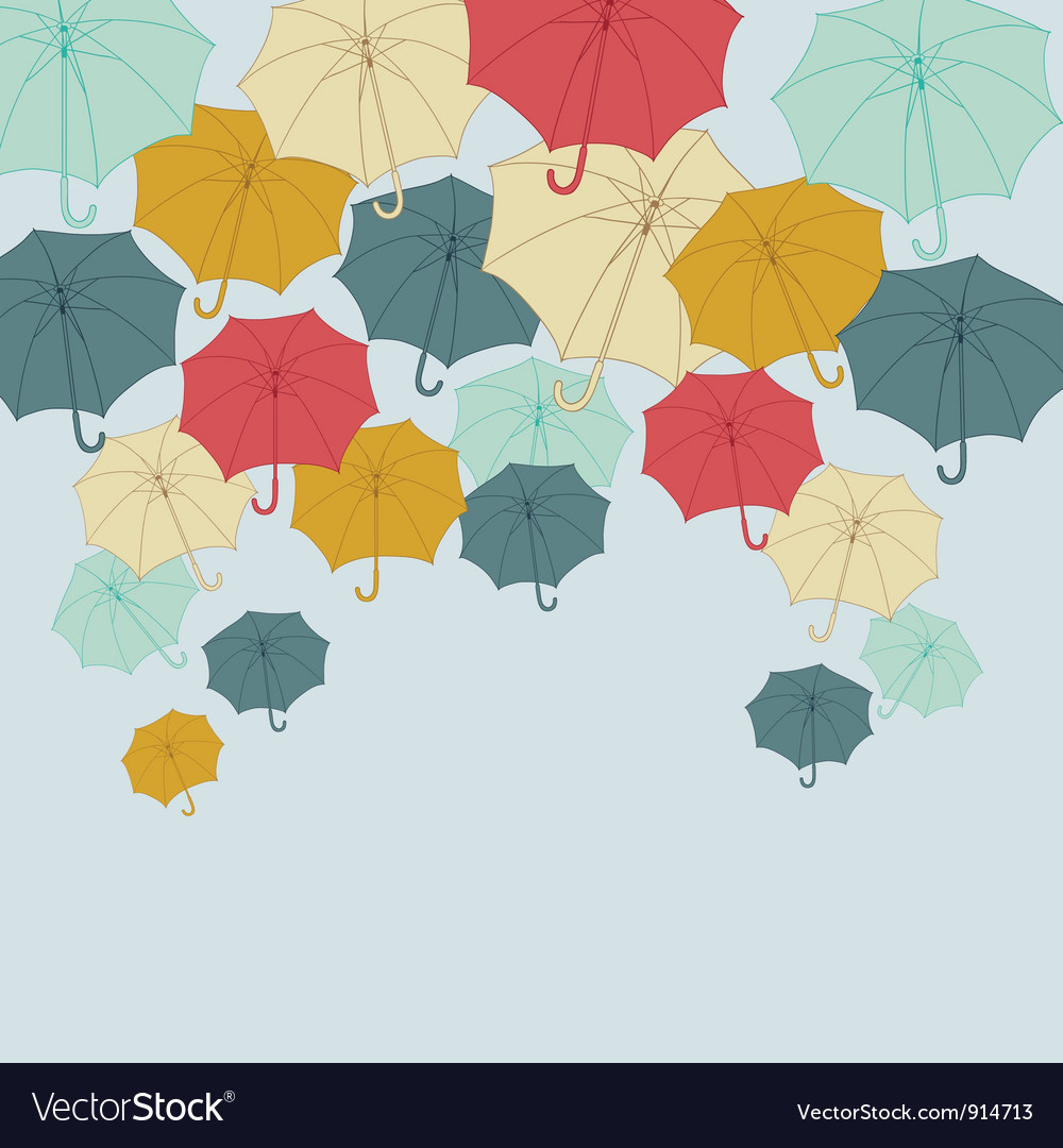Background with collor umbrellas autumn vector | Price: 1 Credit (USD $1)