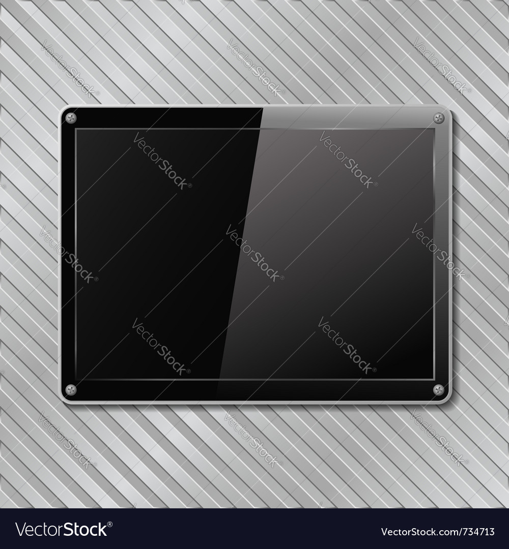 Black plate on metal background vector | Price: 1 Credit (USD $1)