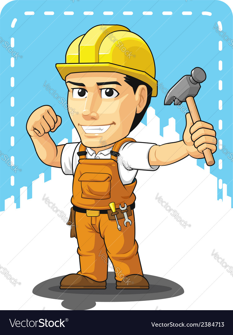 Cartoon of industrial construction worker vector | Price: 1 Credit (USD $1)