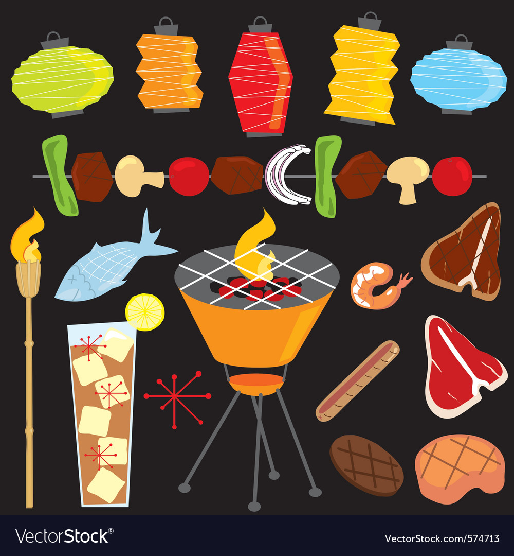 Evening retro bbq party icons vector | Price: 3 Credit (USD $3)