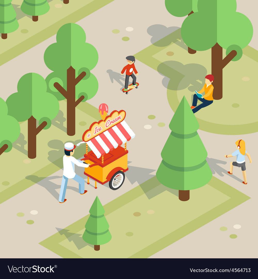 Ice cream seller rolls trolley through the park vector | Price: 1 Credit (USD $1)