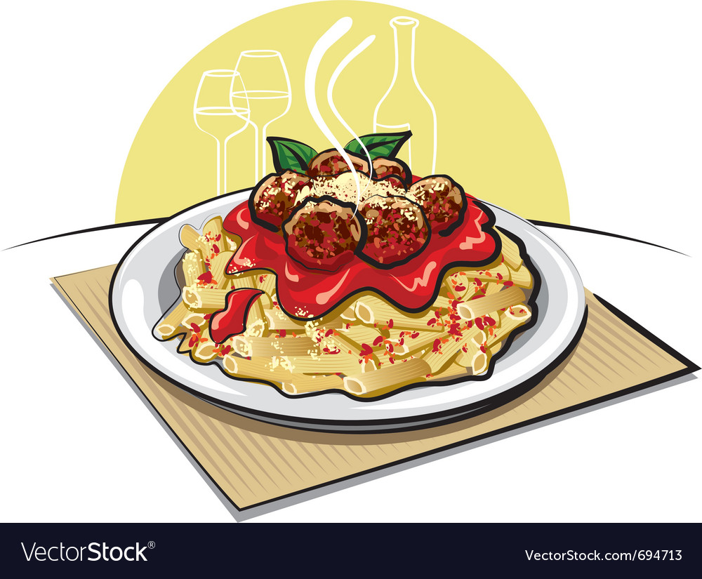 Pasta with meatballs vector | Price: 3 Credit (USD $3)