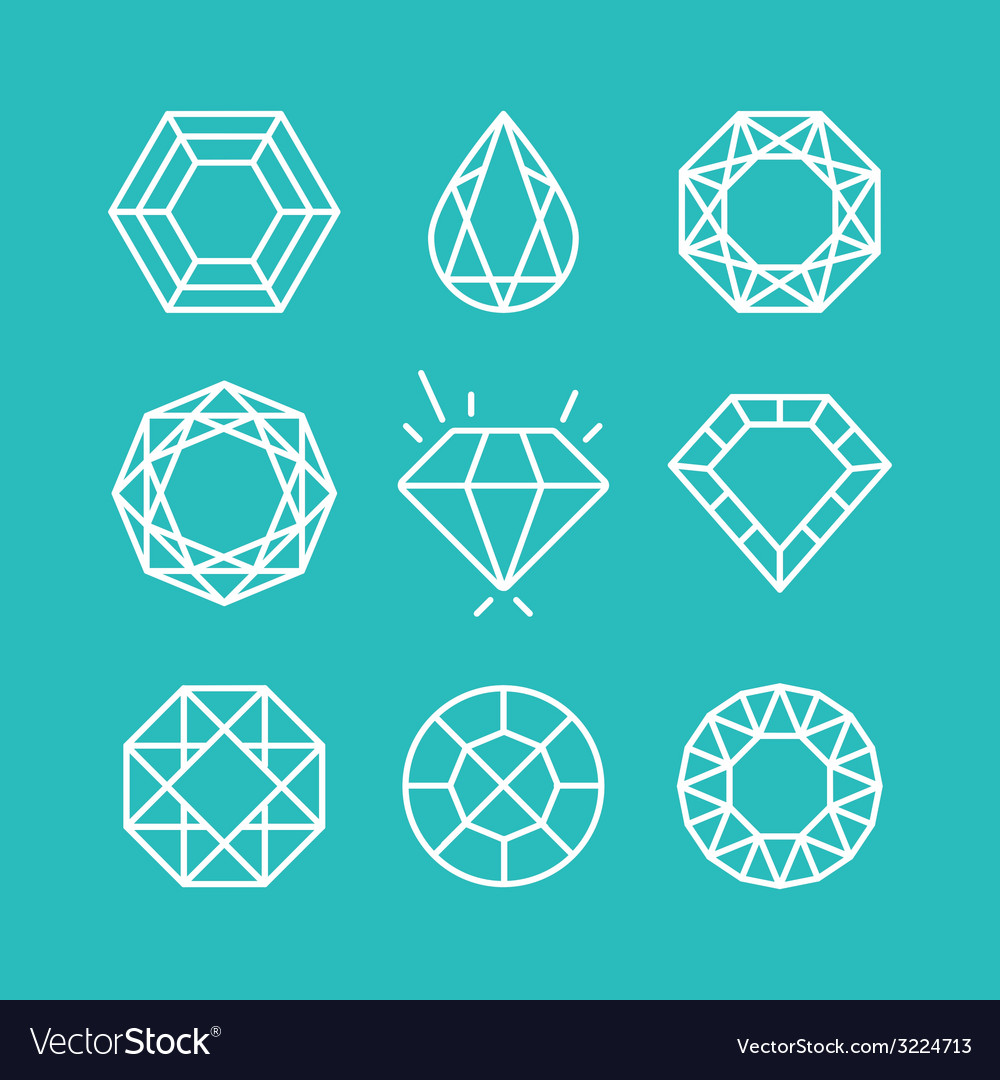 Set of line diamond icons and signs vector | Price: 1 Credit (USD $1)