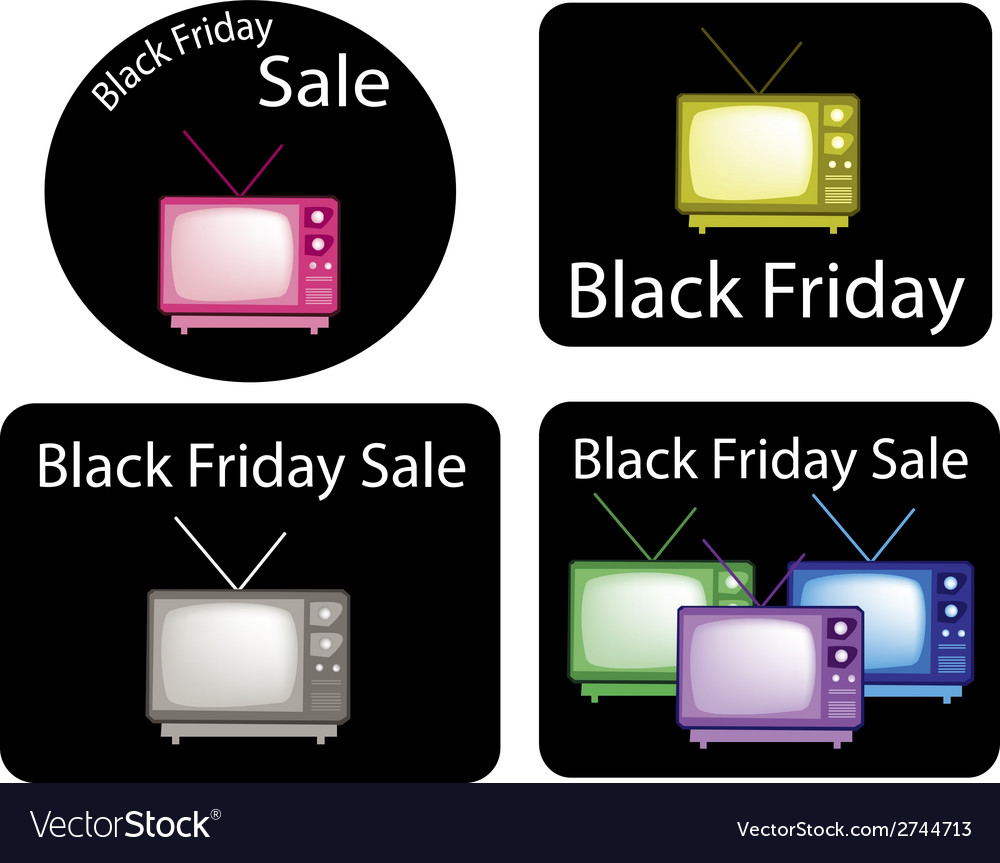 Set of retro television with black friday news vector | Price: 1 Credit (USD $1)