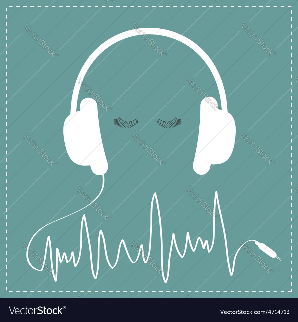 White headphones with cord in shape of cardiogram vector | Price: 1 Credit (USD $1)