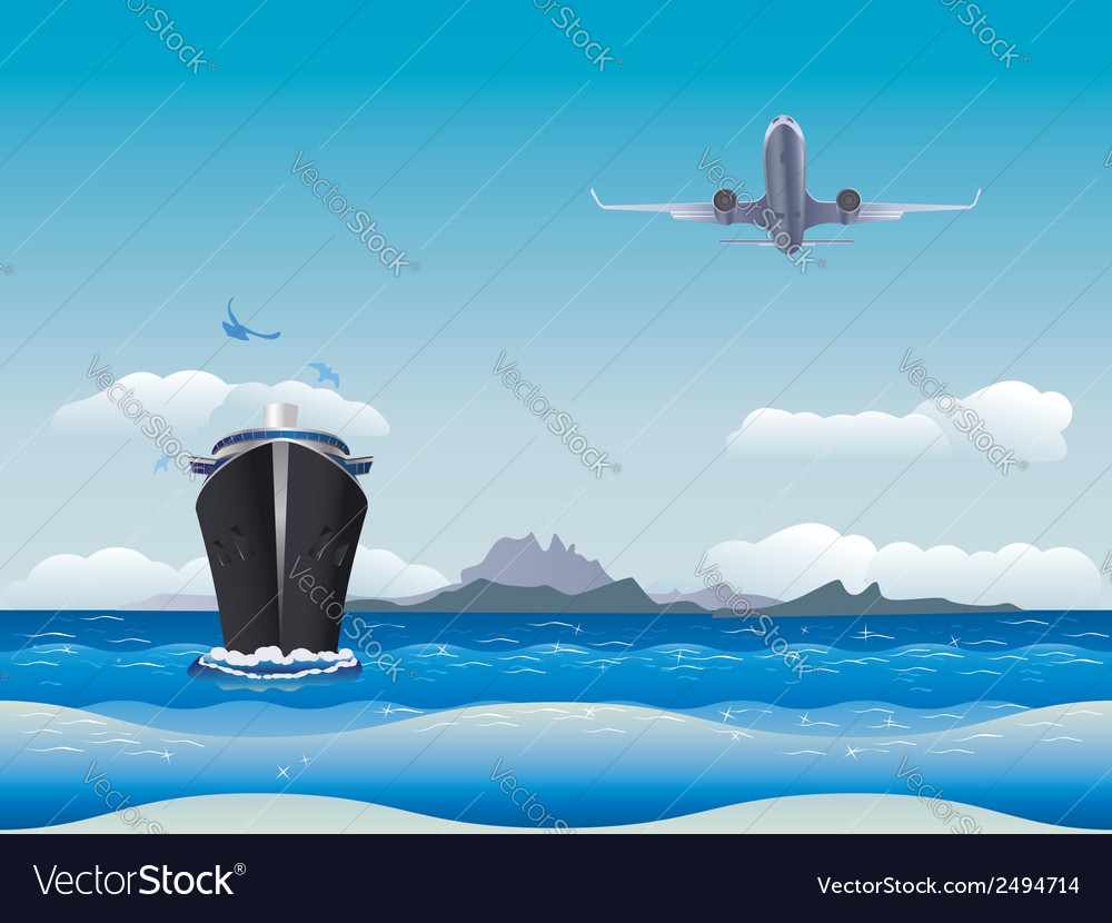 Airplane and ship vector | Price: 1 Credit (USD $1)