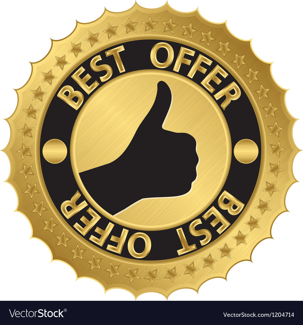 Best offer golden label with ribbons vector | Price: 1 Credit (USD $1)
