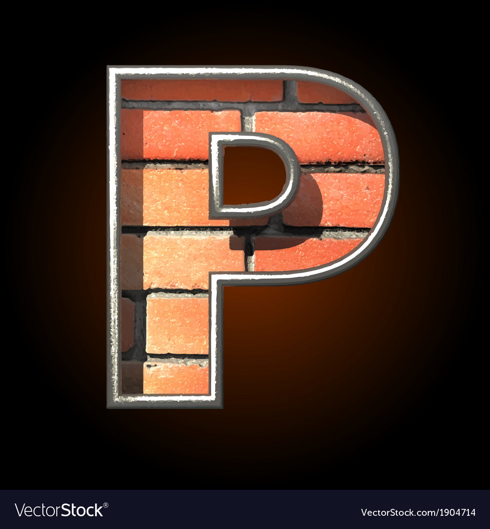 Brick cutted figure p vector | Price: 1 Credit (USD $1)