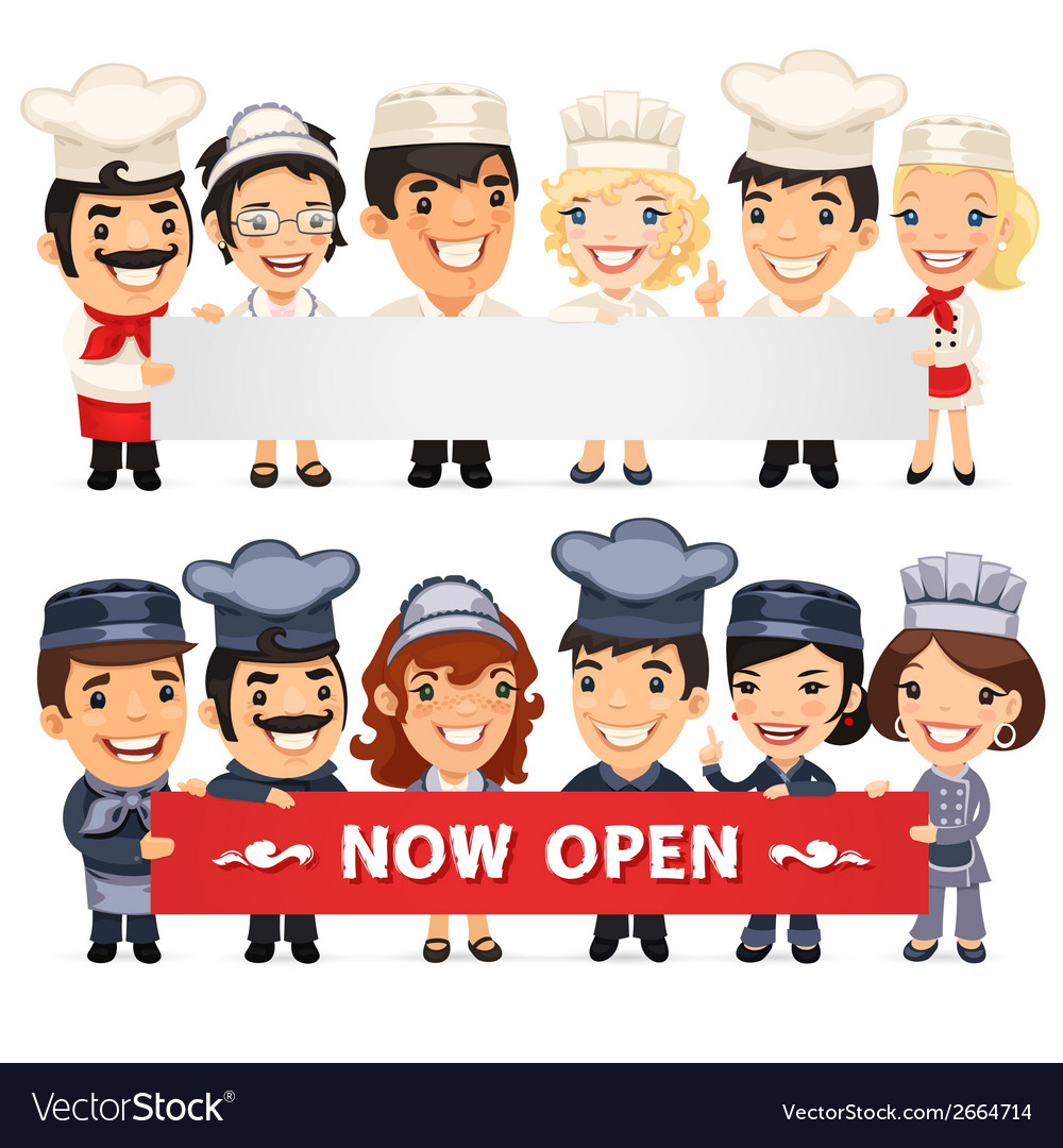 Chefs presenting empty horizontal banner vector | Price: 1 Credit (USD $1)