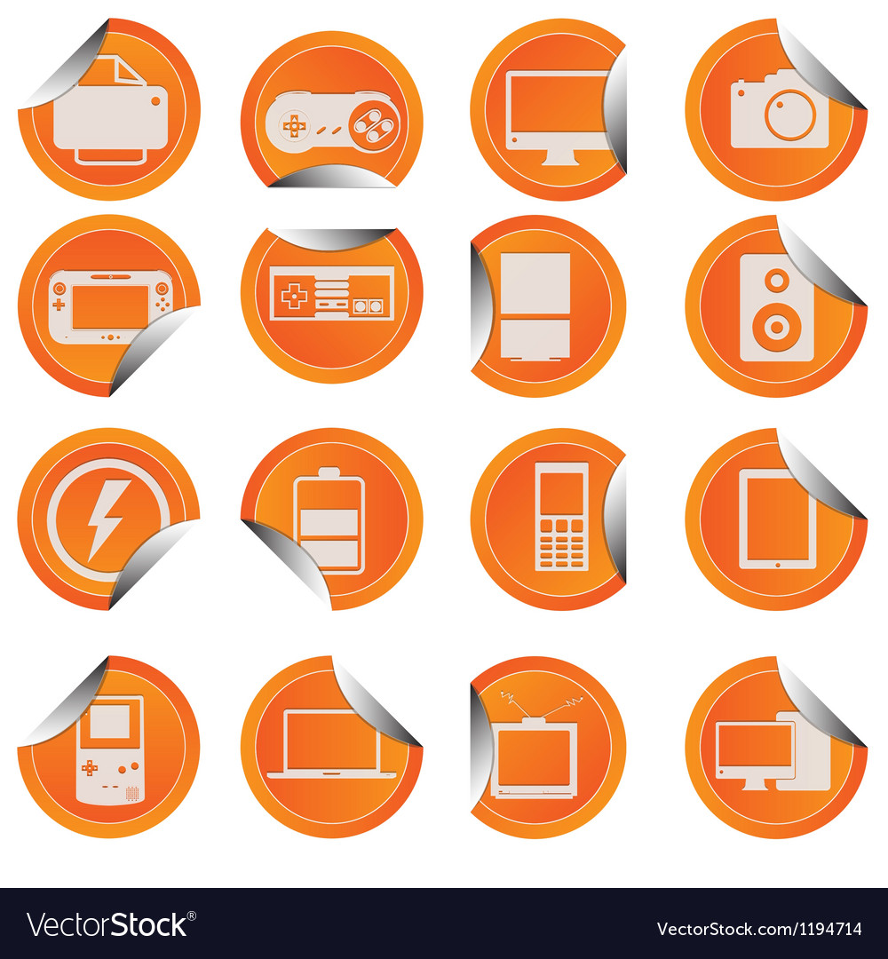 Electronic technology device icon sticker style vector | Price: 1 Credit (USD $1)