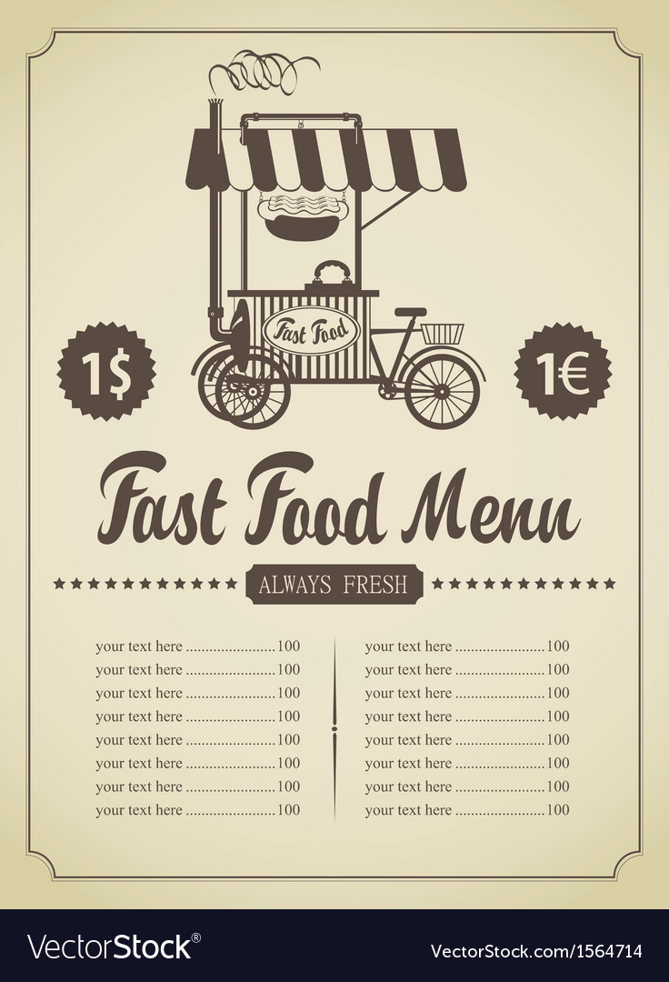 Fast food menu vector | Price: 1 Credit (USD $1)