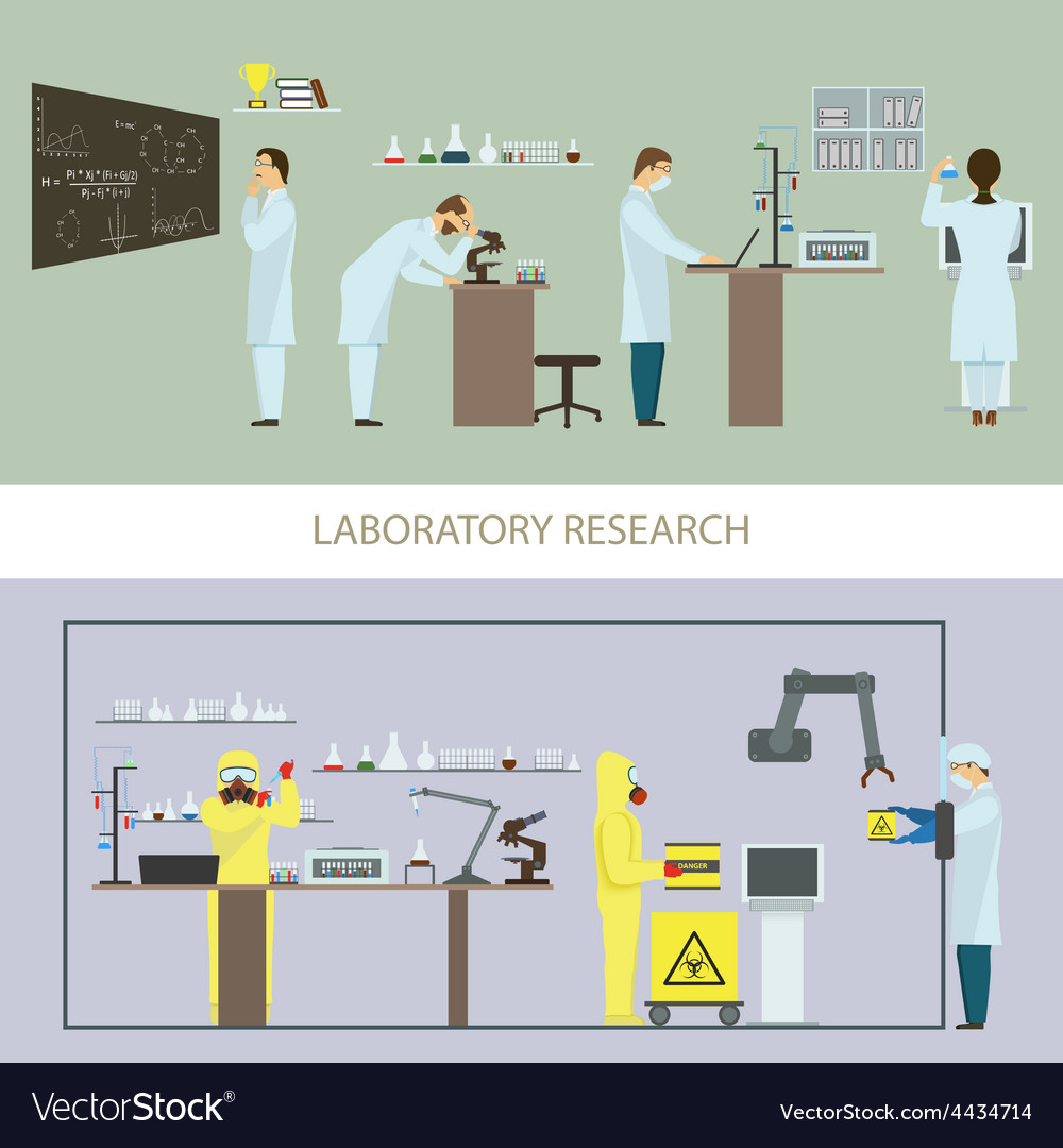 Laboratory research by group of scientists vector | Price: 1 Credit (USD $1)