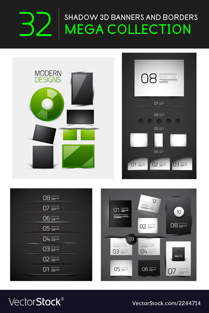 Mega set of creative 3d banners dividers vector | Price: 1 Credit (USD $1)