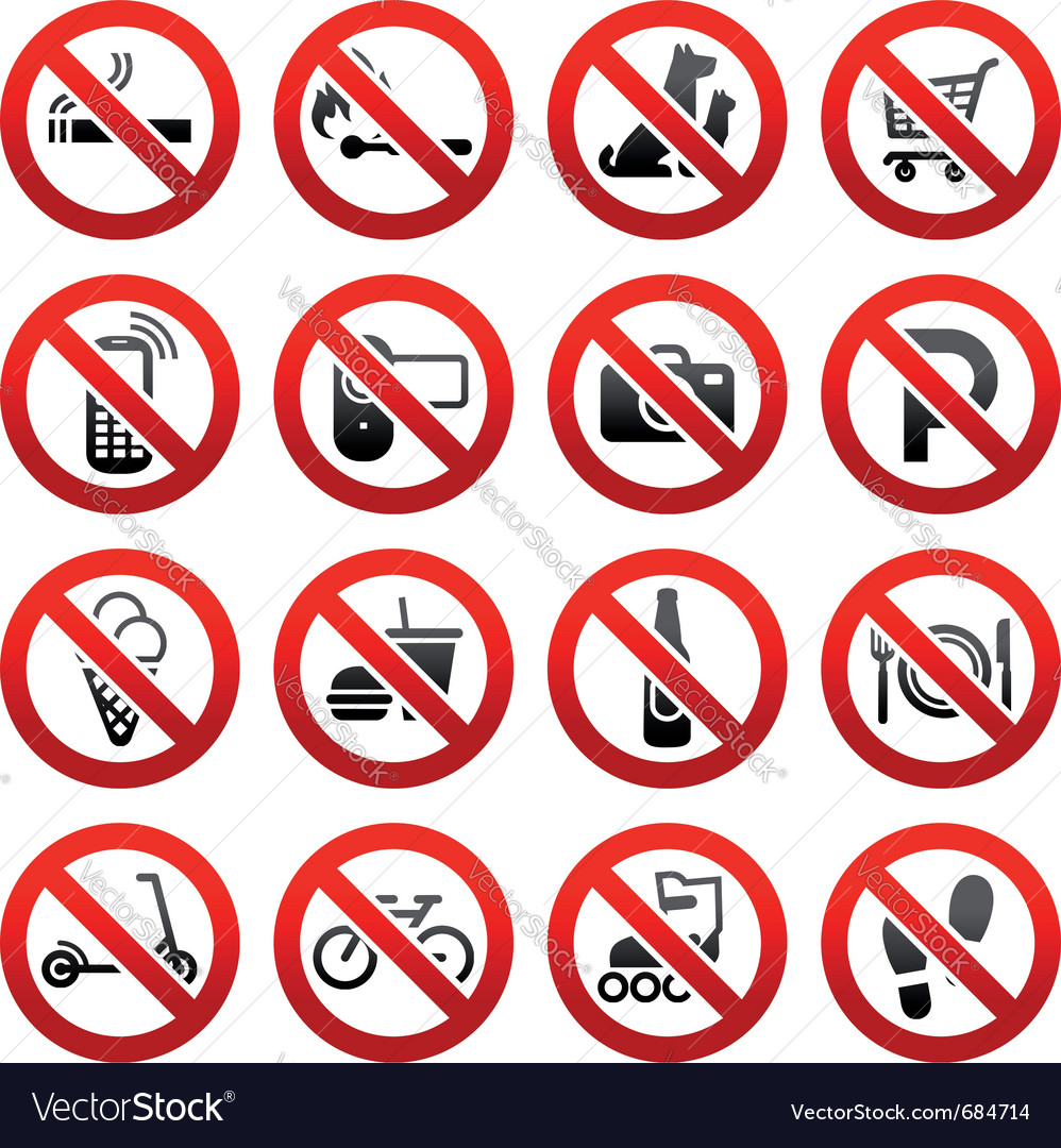 Prohibited symbols vector