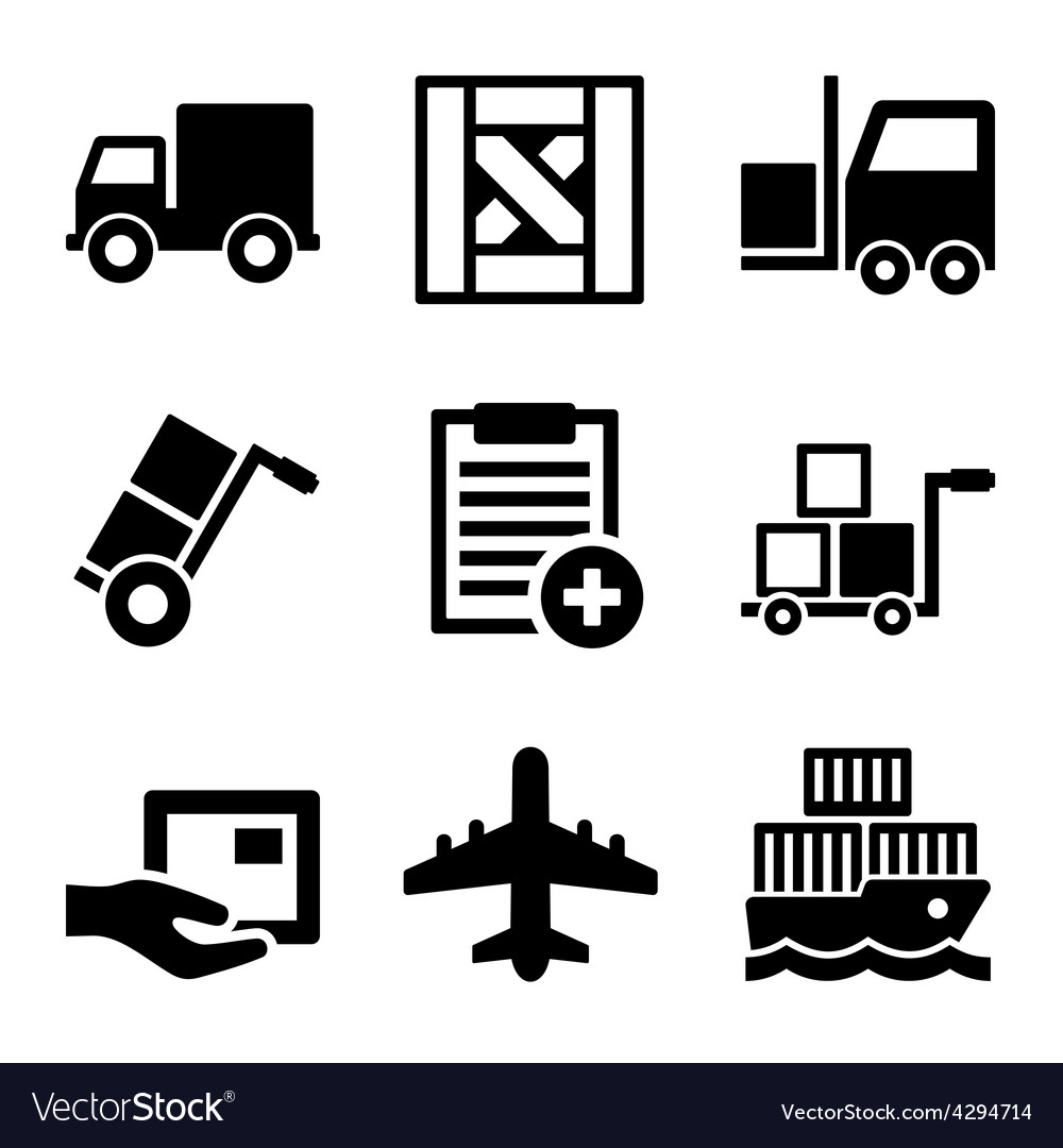 Shipping cargo warehouse and logistic icons set vector | Price: 1 Credit (USD $1)