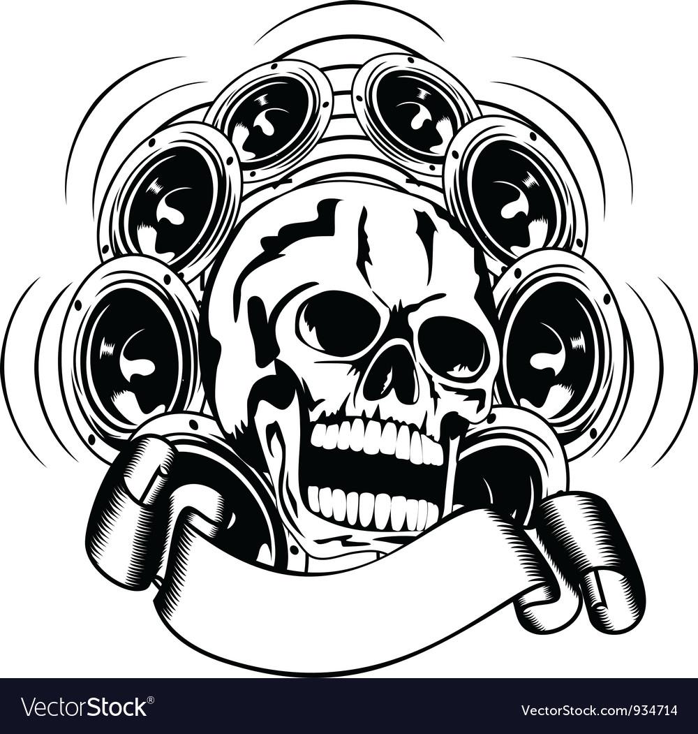 Skull and loudspeakers vector | Price: 1 Credit (USD $1)
