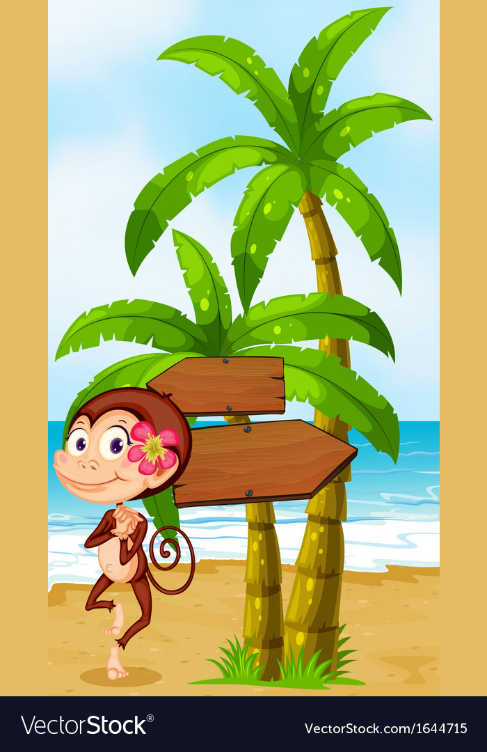 A monkey in a hawaiian attire dancing near the vector | Price: 3 Credit (USD $3)