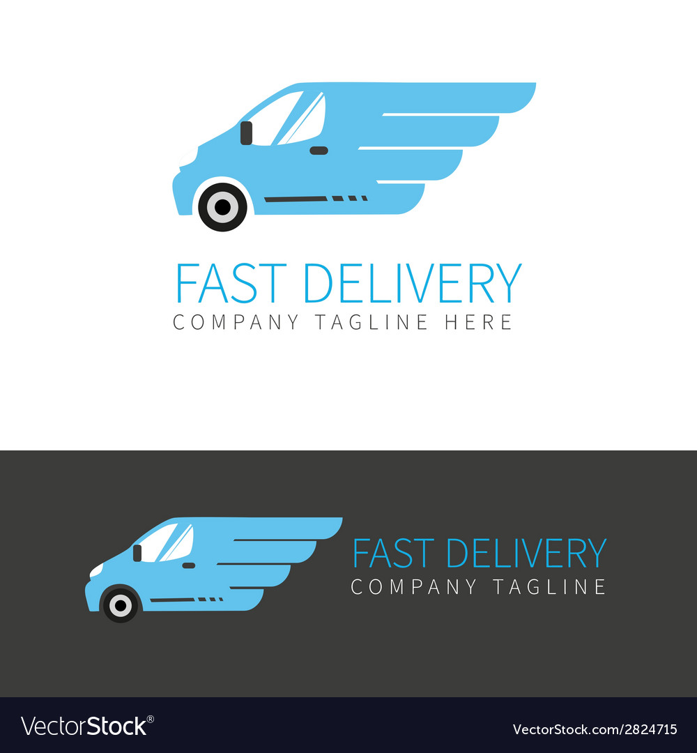 Blue delivery van logo vector
