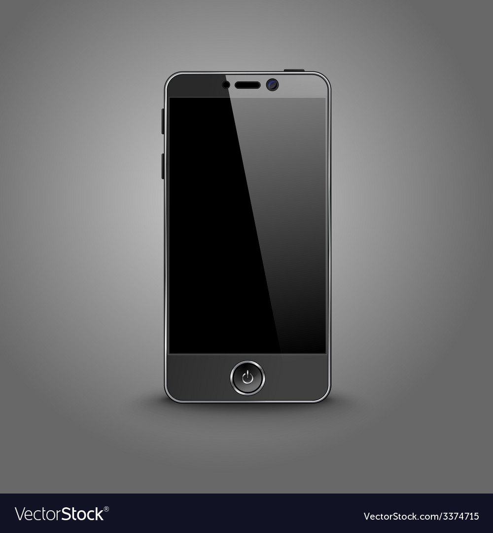 Dark modern smart phone with black screen isolated vector | Price: 3 Credit (USD $3)