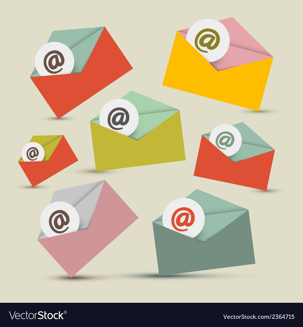 Envelopes - e-mail icons set vector | Price: 1 Credit (USD $1)