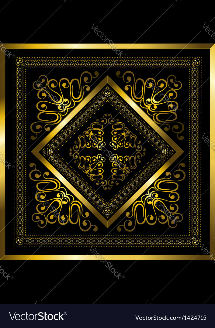 Gold frame with openwork ornament vector | Price: 1 Credit (USD $1)