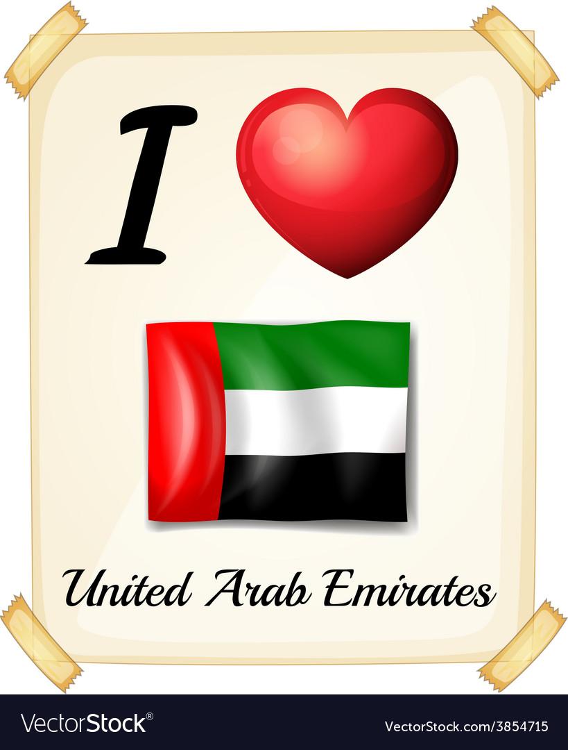 I love united arab emirates vector | Price: 1 Credit (USD $1)