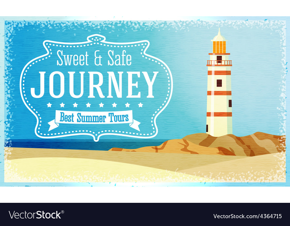 Journeys and tours advertisement with ocean beacon vector | Price: 3 Credit (USD $3)