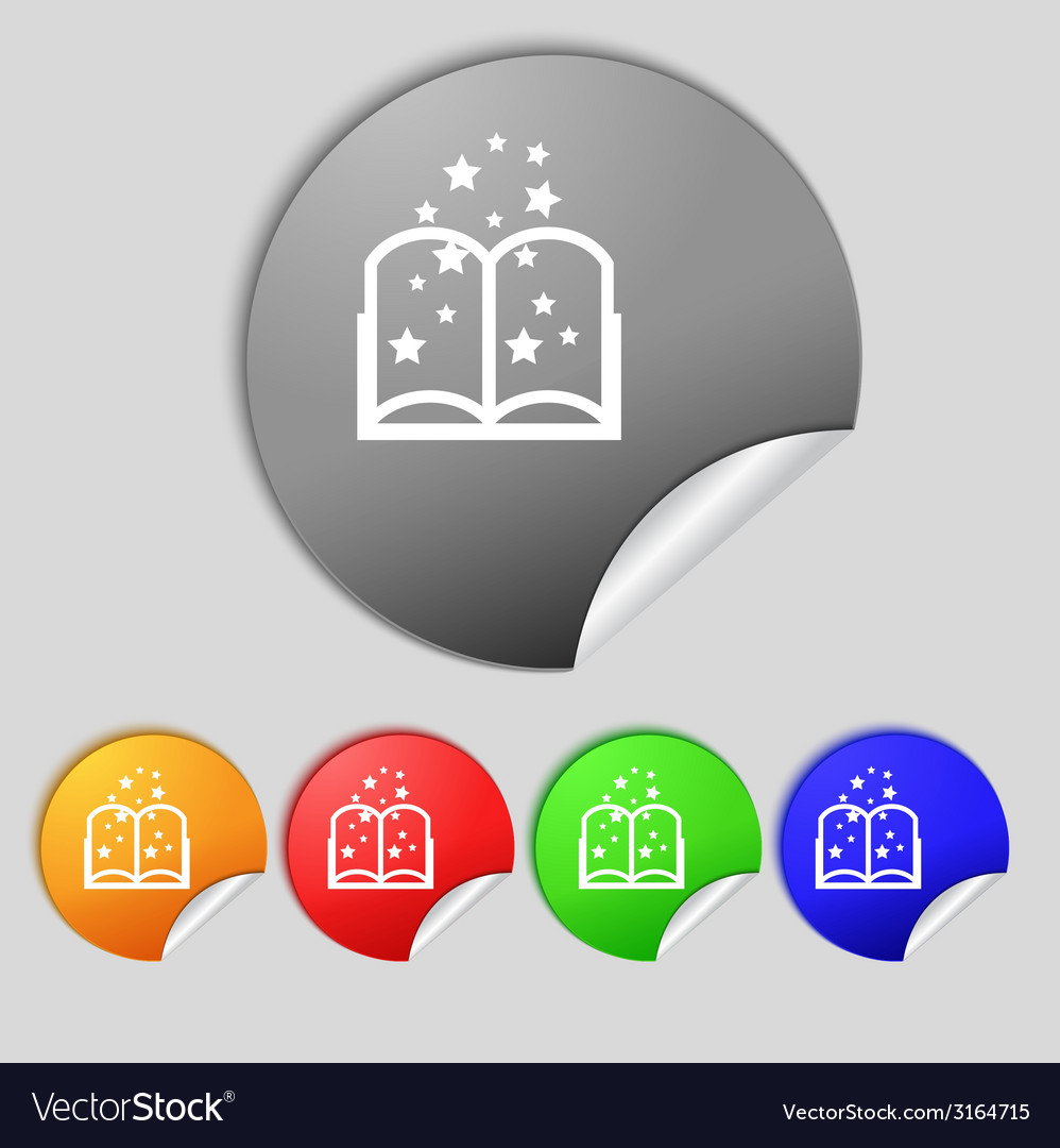 Magic book sign icon open book symbol set of vector | Price: 1 Credit (USD $1)