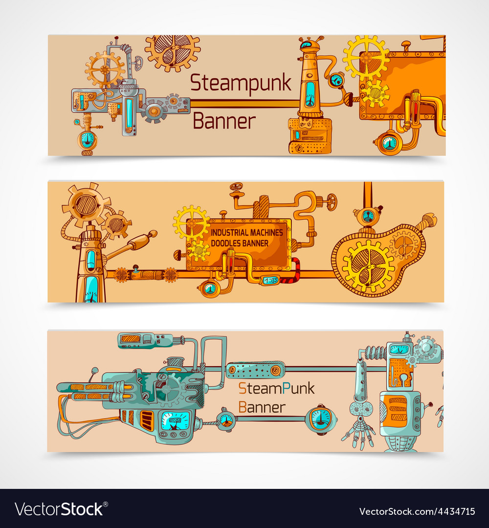 Steampunk banner set vector   Price: 1 Credit (USD $1)