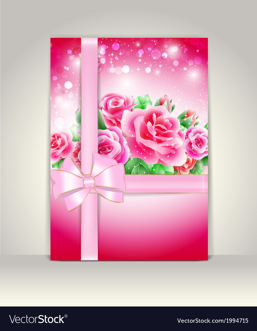 Wedding card or invitation with roses vector | Price: 1 Credit (USD $1)