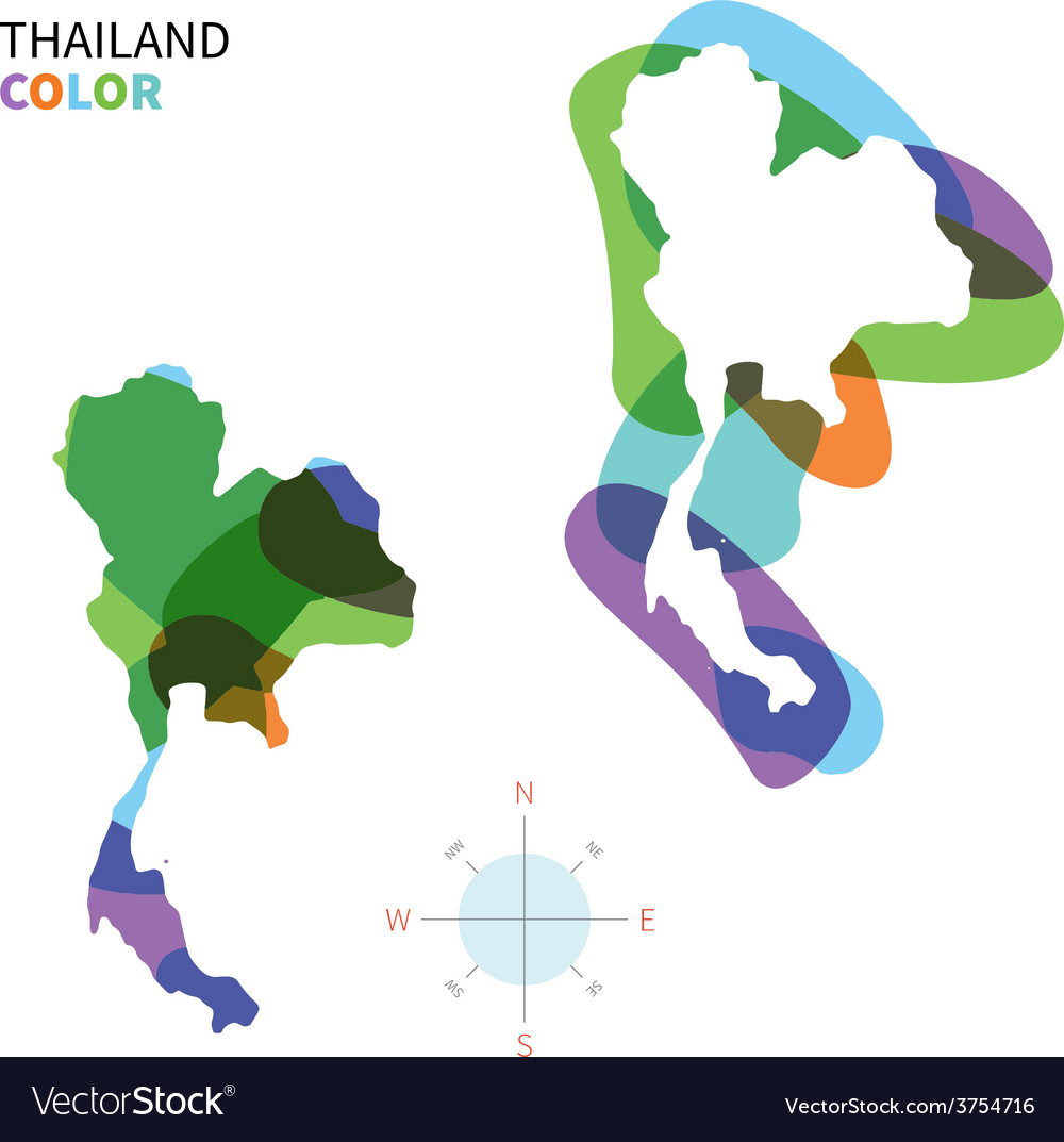Abstract color map of thailand vector | Price: 1 Credit (USD $1)