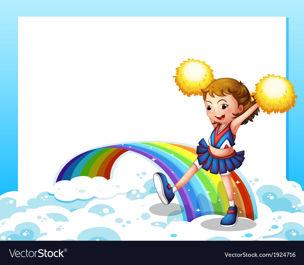 An empty template with a cheerer and a rainbow vector | Price: 3 Credit (USD $3)