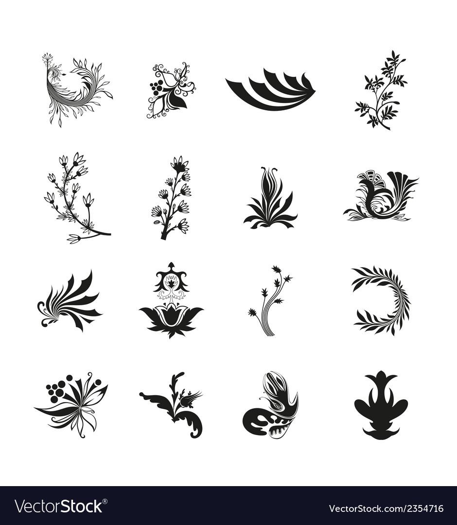 Black floral set vector | Price: 1 Credit (USD $1)