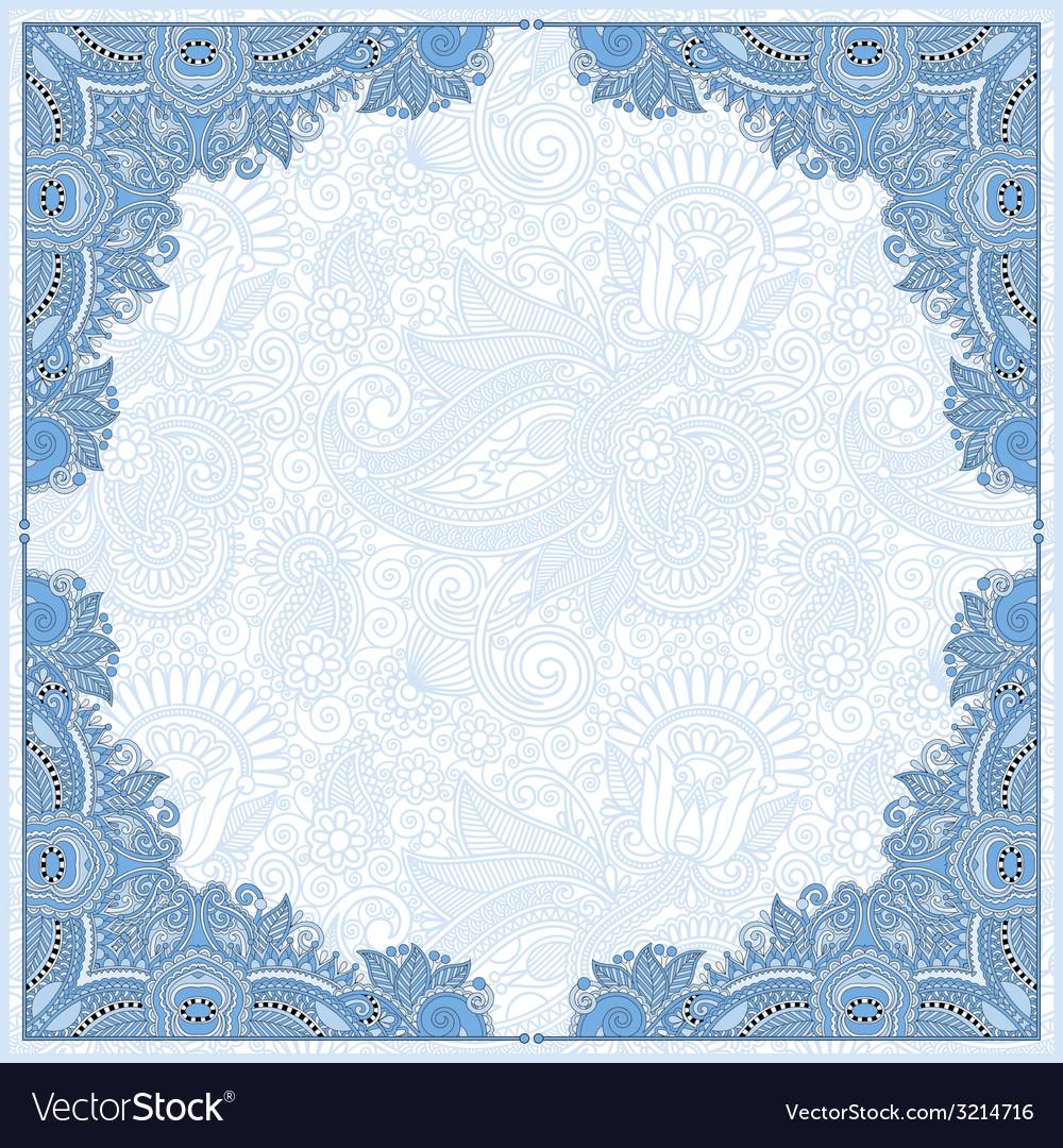 Blue colour floral vintage frame ukrainian ethnic vector | Price: 1 Credit (USD $1)