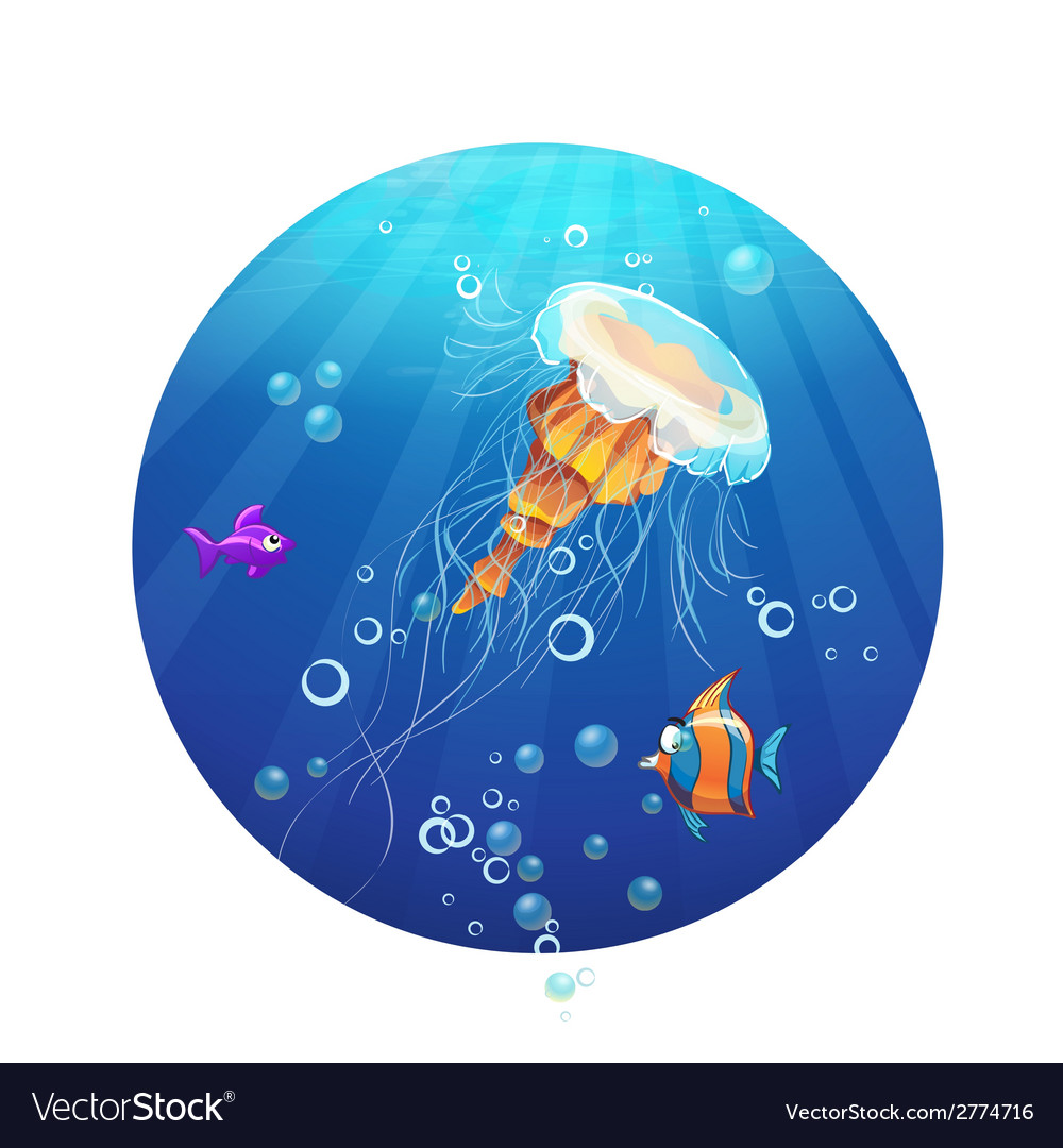 Cartoon image of a jellyfish and sea fish vector | Price: 1 Credit (USD $1)