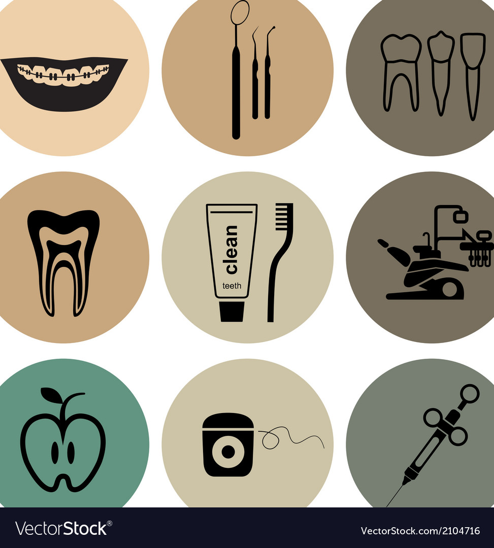 Dental icons in color vector | Price: 1 Credit (USD $1)