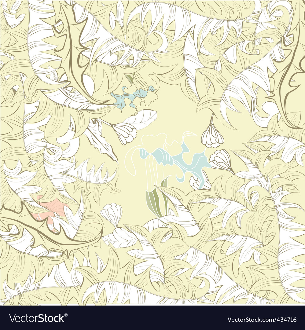 Floral background with leaves vector | Price: 1 Credit (USD $1)