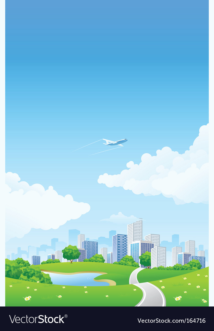 Green landscape with city vector | Price: 3 Credit (USD $3)