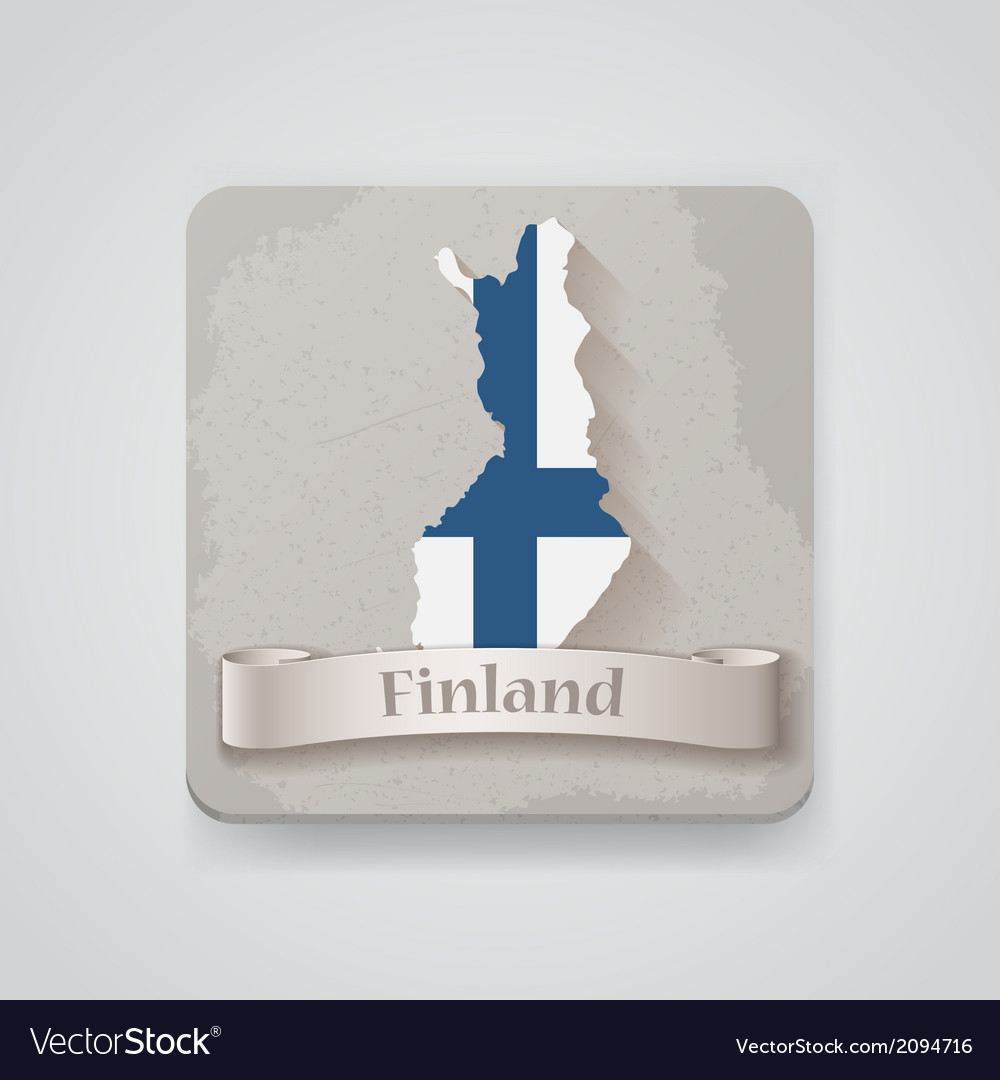 Icon of finland map with flag vector | Price: 1 Credit (USD $1)
