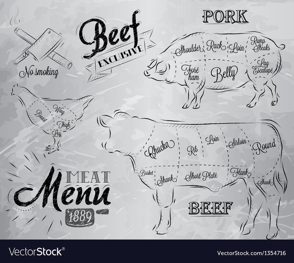 Meat menu coal vector | Price: 3 Credit (USD $3)