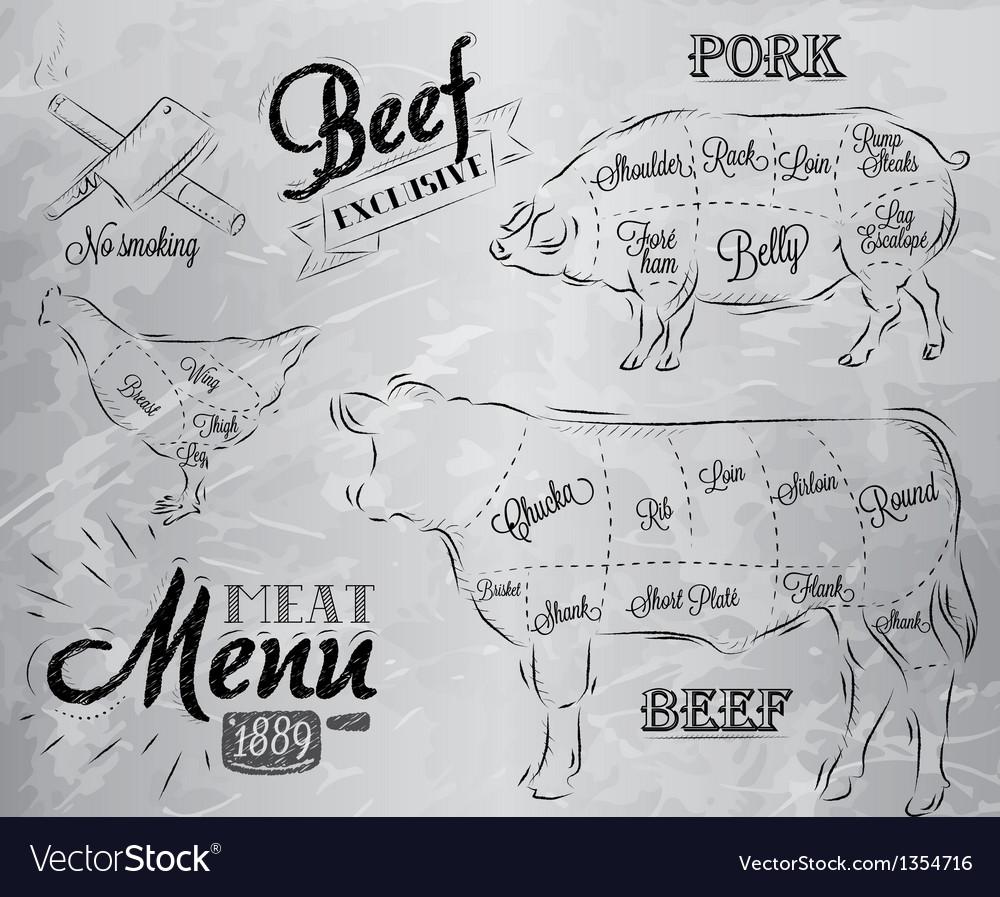 Meat menu coal vector | Price: 3 Credit (USD $3)
