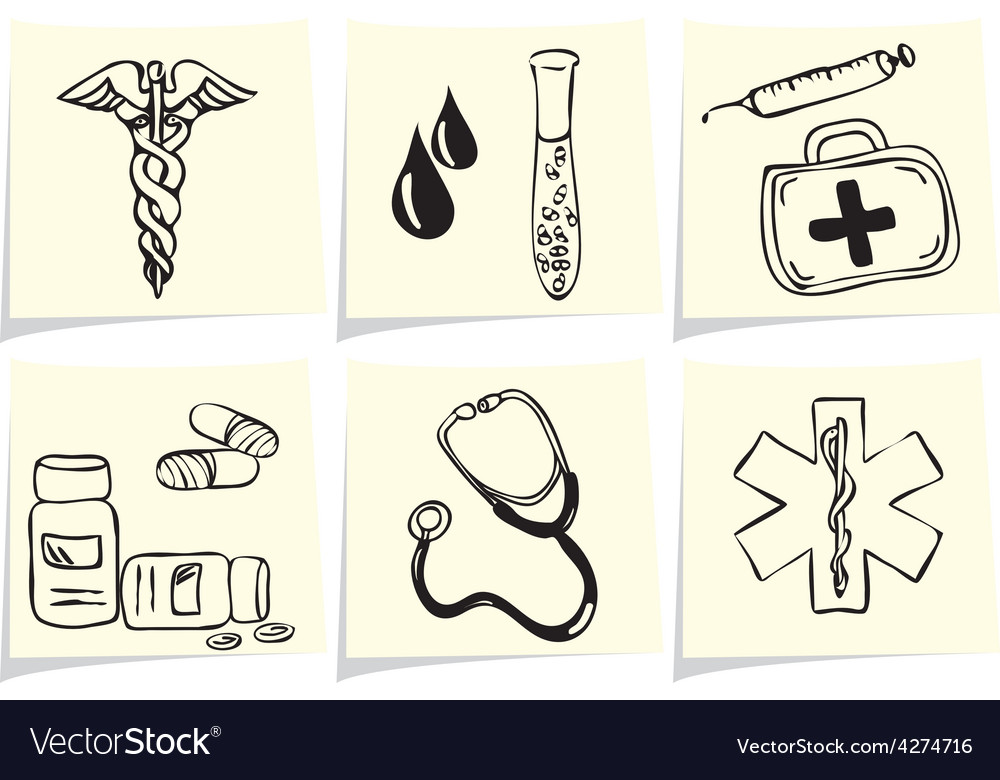 Medical and pharmacy icons on yellow memo sticks vector | Price: 1 Credit (USD $1)